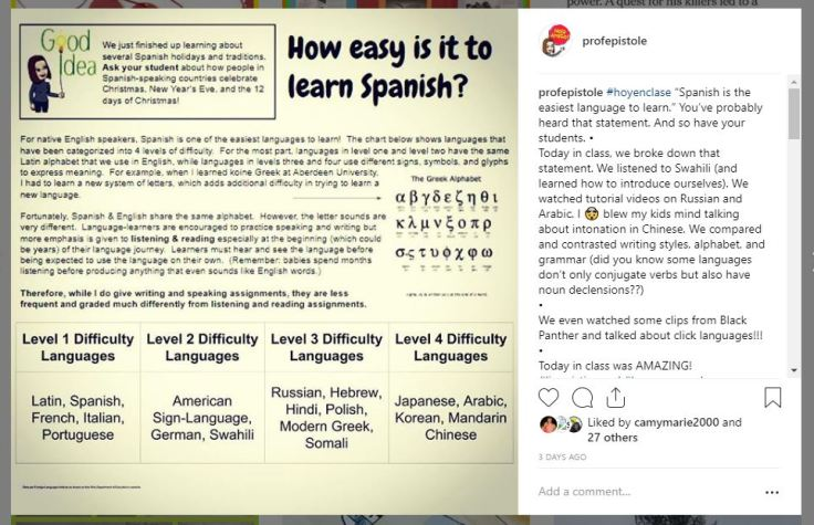 insta learn spanish post