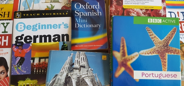 Different beginner's language books laid out. Language learning for native English speakers.